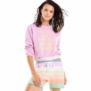 NWT Wildfox Pink BS Beaches & Sunsets Sweatshirt M